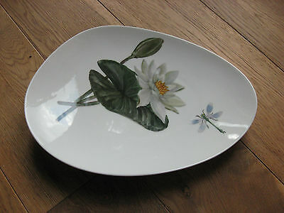 KPM Krister germany Signed 1961Serving plate Dish Oval/Egg shaped Handpainted