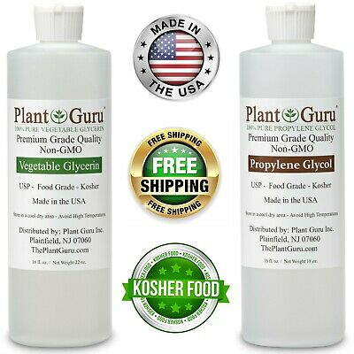 VEGETABLE GLYCERIN + PROPYLENE GLYCOL PG VG NON-GMO FOOD GRADE 16 oz. Each