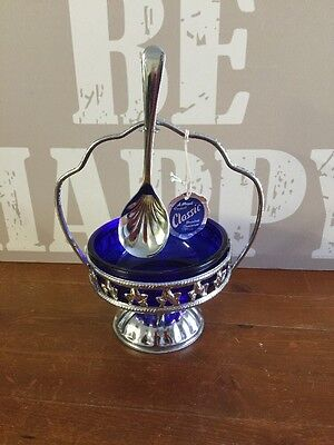 Vintage Mayall Chrome and Cobalt Blue Preserve/Sugar dish