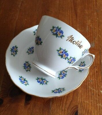 Pretty Vintage Blue Floral 'Mother' Bone China Cup & Saucer