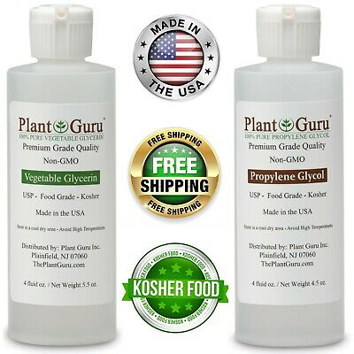 Vegetable Glycerin Propylene Glycol 4 oz Each USP 99.9 % Pure Food Grade VG PG
