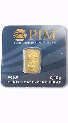 GOLD / OR 0.10 grams of Gold Bar of Gold PIM