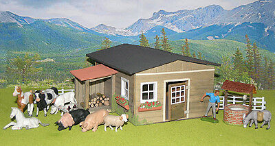 Vintage Britains Herald Farm Farmer Cow Ram Pig Horse Foal & Shed Barn House