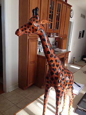 "Vintage Wrapped Leather 27 3/4"" Tall Giraffe"