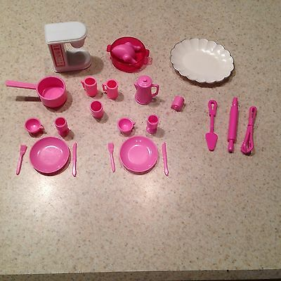Barbie Kitchen Pink & White Dishes Coffee Maker Tray Pots Cups Utensils + More