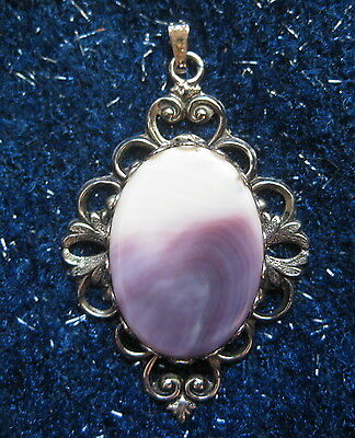 Vintage Quahog Shell/Wampum Pendant Silver Tone Setting and Jump Ring