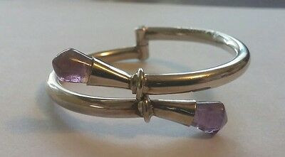 Vintage Taxco Mexico Sterling Amethyst Bypass Bangle Bracelet