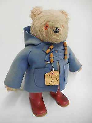 "Collectable vintage 1970's Paddington Bear toy blue coat red wellies 18"" 957892"