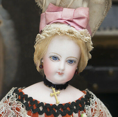 """12"""" Rare All-Original Antique French Fashion doll by Jumeau in Original costume"""