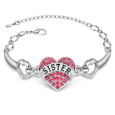 Pink Diamante Crystal Love Heart Sister Bracelet Bangle Cuff Jewelry Gift Charm