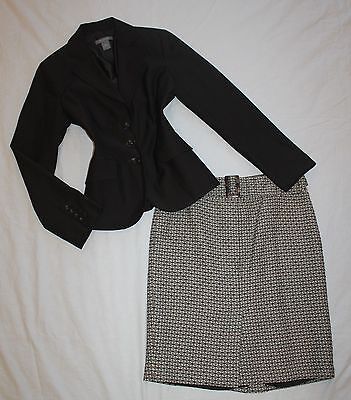 ANN TAYLOR Size 4 / 6 Women's Skirt Suit Brown PERFECT!