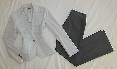 EXPRESS Size 4 Women's Pant Suit Gray & White PERFECT! Editor Pants