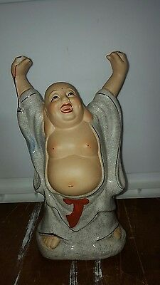 Vintage Fine White/ Red/gold  Porcelain Standing Laughing Buddha Wealth