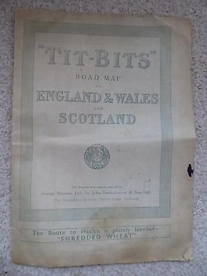 TIT BITS ROAD  MAP of ENGLAND  WALES & SCOTLAND 1930s vintage
