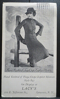1936 LACY'S Style 893 Womens Fashion Clothing Advertisement Photo Card Vintage