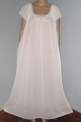 Vintage Miss Elaine Light Pink Sheer Nylon Long Flowing Nightgown Lace Trim L