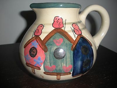 Heatherstone Pitcher Pottery Birdhouses Hand painted Signed Stoneware