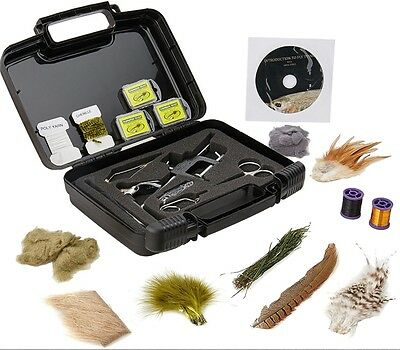 Deluxe River Fishing Fly Tying Kit Box Vise - Tools Hooks Feathers & Materials