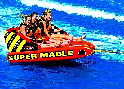 Sportsstuff Super Mable Inflatable Triple Rider Towable Fresh or Salt Water Fun