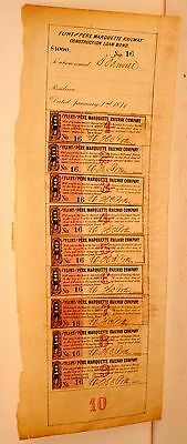 RARE: Flint and Pere Marquette Railroad 1871 Construction Bond proof of purchase