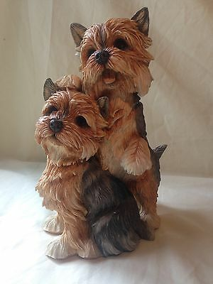Country Artists Large Yorkshire Terrier Pair Sculpture Hand Crafted And Painted