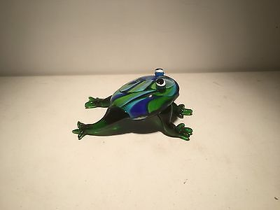Murano Style Hand Blown Art Glass Green and Blue Mix Frog