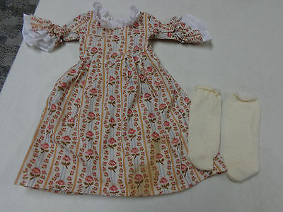 American Girl Doll  Authentic  Old Fashioned Floral Dress & Socks