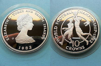 turks and caicos 10 crowns world cup 1982 silver ag plata pp proof