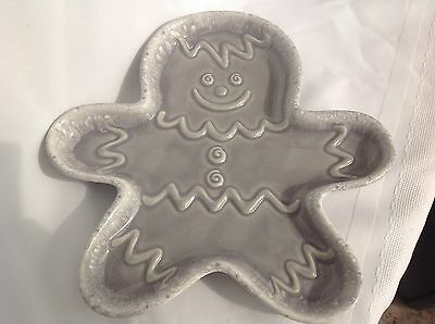 Hull Gingerbread Man Flint Ridge/Grey Cookie Tray/Server  XLNT Cond  Made in USA