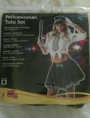 ladies Fancy Dress . police woman outfit tutu hat and scarf  one size  bnwt