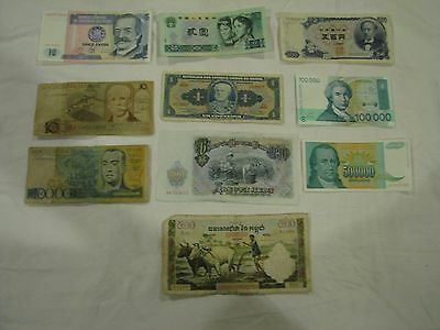 Paper Money lot of 10 bills - Brazil - Peru - Yugoslovia and others