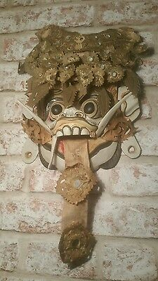 ANTIQUE OLD CHINESE WALL MASK DRAGON,HAND CARVED WOOD, PAINTED,1930s