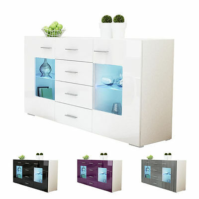 "White High Gloss Modern Sideboard Cupboard Unit Contemporary ""Grömitz"""