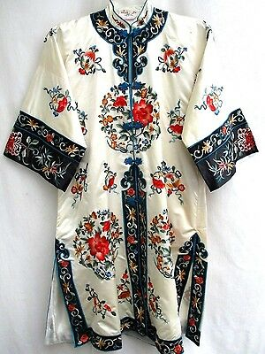 VTG..CHINESE..ROBE..70's/ 80's..GOLDEN BEE..EMBROIDERED..SILK & RAYON..sz LARGE