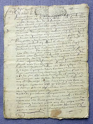 France  Revenue - 1696 - Very old notarial deed of Brittany ( Bretagne )