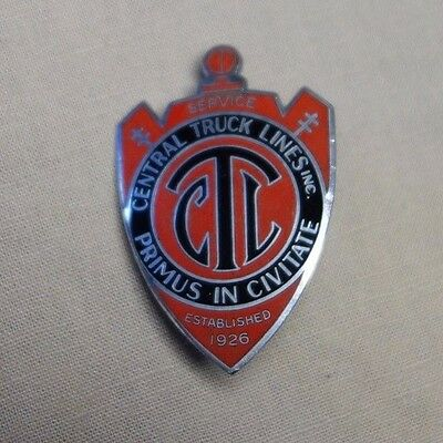 Vintage Central Trunk Lines Inc Service Primus In Civitate Enamel Badge Pin