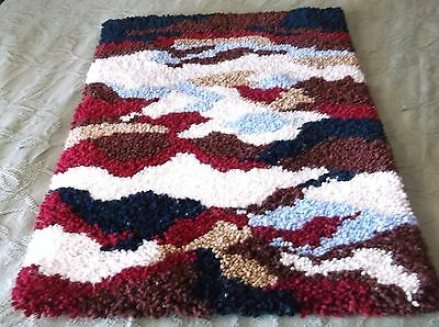 LATCH HOOK  Blue Black Brown Tan White Wine Rug Wall Hanging Completed 27x20