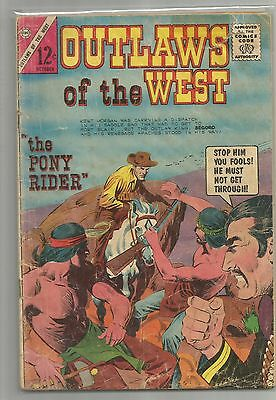 """CHARLTON COMICS - OUTLAWS OF THE WEST """" The Pony Rider """"   Oct.  1966"""