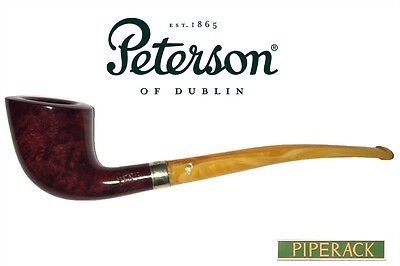 NEW Peterson Classic Slimline D6 Silver Mounted Pipe Red Briar (Free Pipe Tool)