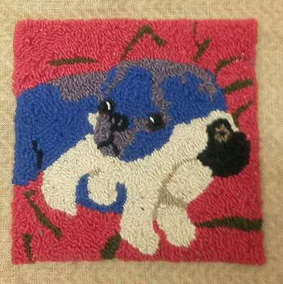 "Rug Hooking Pattern PURPLE PUG on Red Dot Fabric 16"" x 16"""