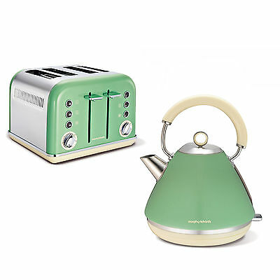 Morphy Richards Accents Sage Green Kettle & 4 Slice Toaster 102011 & 242006