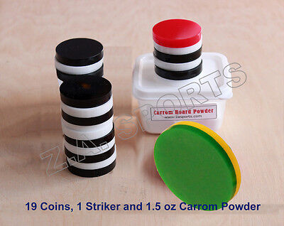 Carrom Board Coins Set and Striker Plastic / Carrom Powder for smaller Boards