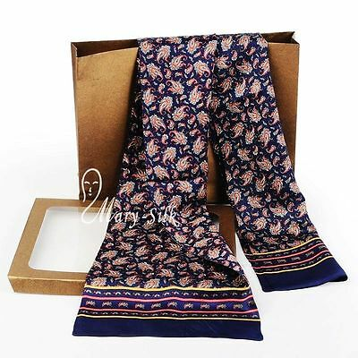 Luxurious Mens 100% Silk Long Scarf/Cravat Double Layer Blue___For 4 Seasons