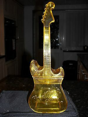 Hard Rock Cafe Plastic Yellow Guitar Cocktail Drink Mixer Shaker Container