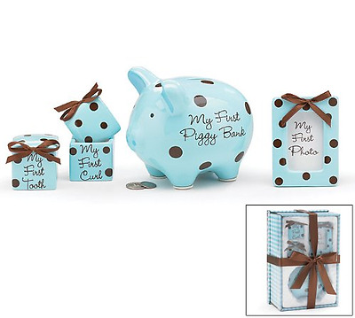 Baby Boy 4 Piece Keepsake Gift Set With Piggy Bank, First Tooth Box,First Curl B