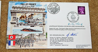 Fdc Fall Of France No 196 Of 970. Signed G Skelton And Lieutenant General Lang