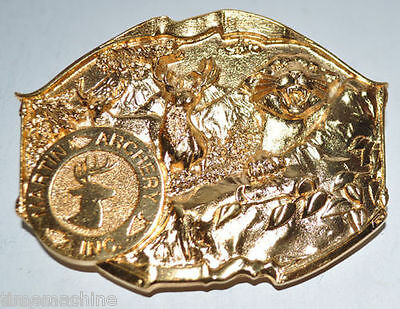 Martin Archery GOLD Plated Belt BUCKLE (3.25 x 2.75 inches)