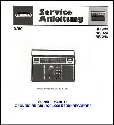 Grundig Rr940 Rr920 Rr900 Service  Manual Full Color