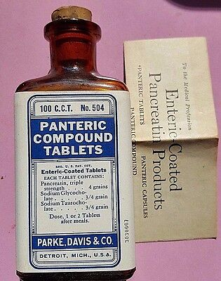 VINTAGE FULL BOTTLE of PANTERIC COMPOUND TABS. No. 504 by PARKE DAVIS & Co.