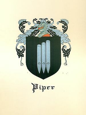 *Great Coat of Arms Piper Family Crest genealogy, would look great framed!